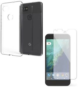 For GOOGLE PIXEL 2 XL CLEAR CASE + TEMPERED GLASS SCREEN PROTECTOR SHOCKPROOF