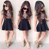 Kids Baby Dress Girls Leopard Printing Dresses Short Sleeveless Dresses Clothes