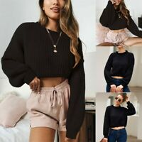 Women Knitted Pullover Solid Long Sleeve O-Neck Sweater Jumper Crop Knitwear Top