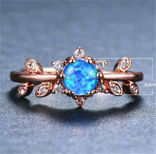 Rose Gold Oval Cut Blue Artificial Opal Rings Wedding Engagement Jewelry Size 8#