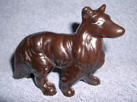 """VINTAGE REDWARE RED WARE CERAMIC COLLIE DOG FIGURINE 3"""" TALL - MADE IN JAPAN"""