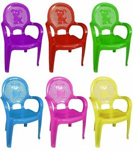 Assorted Stackable Kids Plastic Chair Picnic Party Nursery Tea Furniture School