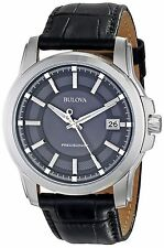 Bulova Men's Precisionist Black Dial and Leather Strap Watch 96B158
