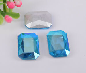 100 Pcs Colour AB Glass Rhinestone Faceted Glass Rectangle Jewels