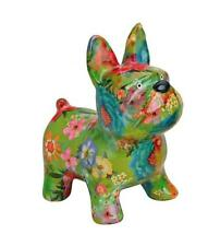More details for french bulldog glossy porcelain money box statue dog lovers figure green