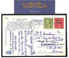 MS1627 1929 USA Kansas *MOLLY PITCHER* Overprint Franking Usage Postcard France