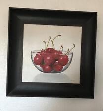 Original Oil Painting On Canvas Framed. Cherries