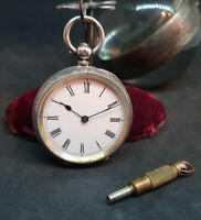 ANTIQUE 935 SOLID SILVER LEVER FOB POCKET WATCH LADIES & KEY