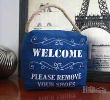 "Door Stop ""Please Remove Your Shoes"" Canvas Doorstop - Jute Rope Handle - 1.5kg"