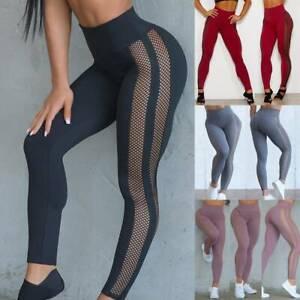 Sexy Womens Sports Leggings Yoga Pants High Waist Ftiness Running Mesh Trousers