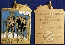 Medaglia Biella 1952 Mostra Nazionale Truppe Alpine d' Italia con smalti #445