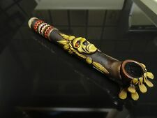 Red Eyed Indian w/ Red Braids Smoking  Pipe , Screens Glass Altern.  PT64-001 R