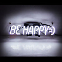 """14""""x4""""BE HAPPY Neon Sign Light Party Home Room Wall Poster Beer Bar Pub Decor"""