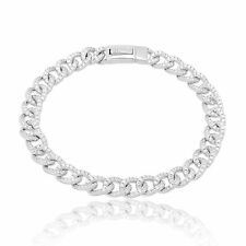 925 Solid Sterling Silver Classic Curb Bracelet White CZ Womens Jewelry Charm
