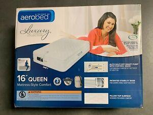 "AeroBed Luxury Mattress-Style 16"" Queen Air Mattress w Built-in Pump |Dmg Box 2"