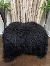 CURLY SHEEPSKIN RUG | GENUINE NATURAL BLACK | SEAT COVER | FUR THROW * Pet Bed