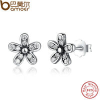 Authentic S925 Sterling Silver Dazzling Daisy Stud Earrings Clear AAA CZ Jewelry