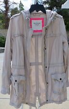 ABERCROMBIE & FITCH Women's Cream Military Hooded Jacket Coat Size M - BRAND NEW