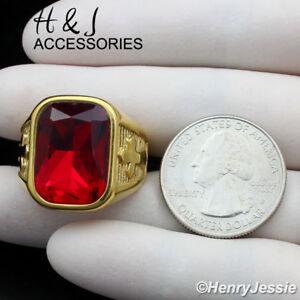 MEN Stainless Steel Ruby Rectangle Gemstone Cross Gold Ring Size 7-13*AGR112