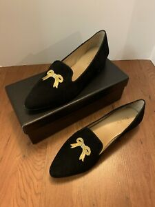 NIB Talbots Edison Novelty Flat Black bow classy shoes gold accent 10M $129.00