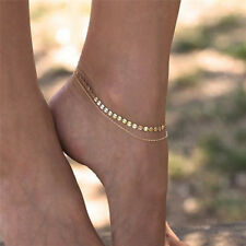 Women Gold Delicate Bead Double Foot Chain Adjustable Ankle Leg Bracelet AnkJX