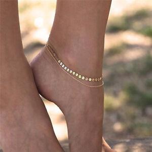 Women Gold Delicate Bead Double Foot Chain Adjustable Ankle Leg Bracelet An BL