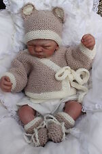 KNITTING PATTERN TO MAKE  baby bear set  jacket  hat   booties    0/ 12M