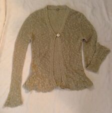 Anthropolgie One Girl Who women's Cardigan Sweater linen cotton rayon beige L