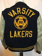 Vtg 1980 Letterman Wool And Leather Varsity Jacket Navy Lakers No Size