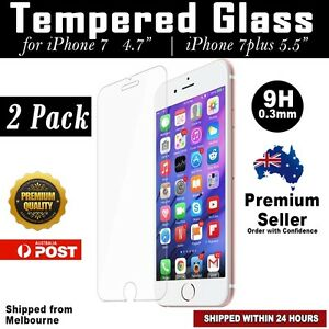 2x GENUINE Tempered Glass Film Screen Protector for Apple iPhone 7 / 7 Plus