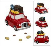 Keramik Spardose HOLIDAY CAR Urlaub Auto Koffer Fun Reisekasse Sparschwein
