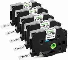 5 Pack TZe231 TZ231 Black/White Label Tape For Brother P-Touch PT-D210 12mm