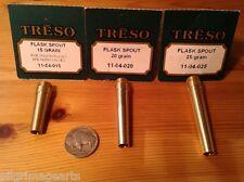 THREE TRESO solid brass flask spouts Powder Measure 15, 20,25 grain Revolver USA