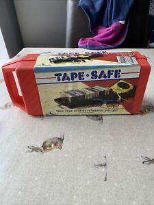 Vintage 1980s :TAPE SAFE Orange Cassette Carry Case : Holds 12 Tapes