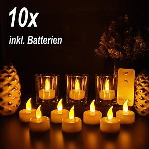 10x LED Teelichter mit Fernbedienung flackernd Kerzen Batterien Teelicht Timer