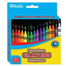 48 Premium Crayons Brilliant Colors, W free Pencil Sharpener - Bazic brand
