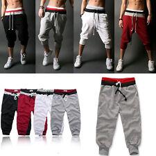 UK Mens 3/4 Knee Harem Jogger Pants Loose Casual Gym Rope Sport Shorts Trousers