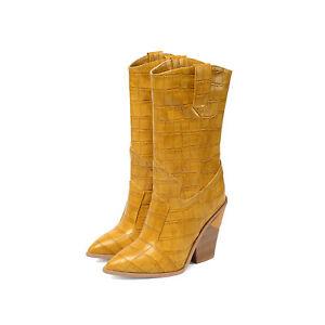 Women's Western Stone Pattern Pointy Toe Chunky Heel Mid Calf Nightclub Boots