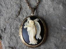 ANGEL W/ FLORAL CROSS CAMEO LOCKET NECKLACE!!! QUALITY - RELIGIOUS
