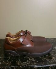 MENS 14 W DR.COMFORT BRIAN BROWN LEATHER / LYCRA WALKING COMFORT VELCRO OXFORD