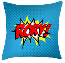 Childrens name personalised comic style decor cushion