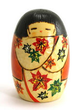 """Japanese Creative KOKESHI Wooden Doll Girl 4.75""""H Red/ White Leaf, Made in Japan"""