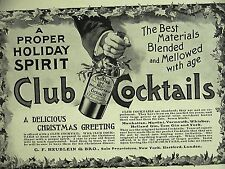 Advertising CLUB COCKTAILS MARTINI MANHATTAN TOM GIN WHISKEY Antique Ad Matted
