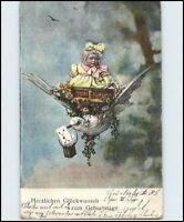 GEBURTSTAG Grusskarte 1904 Kind wird im Korb von Vogel Schwalbe getragen Motiv