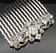 Art Deco Crystal Hair Comb Clip Pin Silver Formal Wedding Diamante Bridesmaid