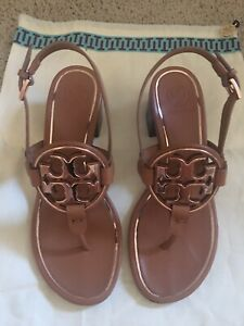 Tory Burch Miller Sandal In Tan Leather And Rose Gold Metal