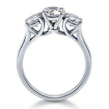 Berricle 3-Stone Ring Swarovski Zirconia Round 1.92 Ct Size 4 Rhodium & Silver