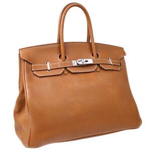 HERMES BIRKIN 35 Hand Bag Purse 7□F 2002 Gold Veau Crispe Togo SHW 40729