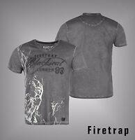 Mens Firetrap Graphic Print Blackseal Skull Smoke V Neck T Shirt Top Size S-XXL
