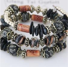 Handmade Beach Bracelets All Real Natural Stone Beads Real Sea Shells BLACK MIX